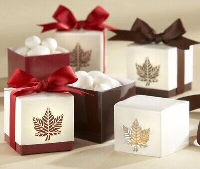 "Kate Aspen ""Autumn Elegance"" Laser Cut Fall Leaf Wedding Favor Box Set Of 24"