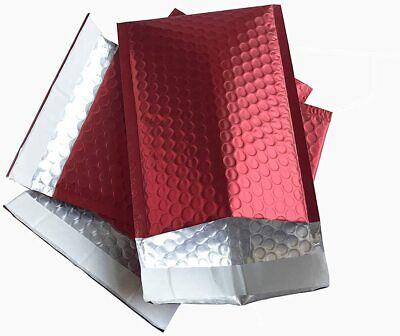 5pack 2 8.5x12 Metallic Mate Red Poly Bubble Shipping Mailers