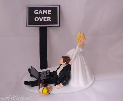 Wedding Reception Wine & Cheese Computer Laptop Video Game Over Sign Cake Topper - Wedding Reception Games