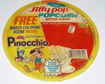 1978 Jiffy Pop Popcorn Lid w/ Disney Pinocchio Premium offer