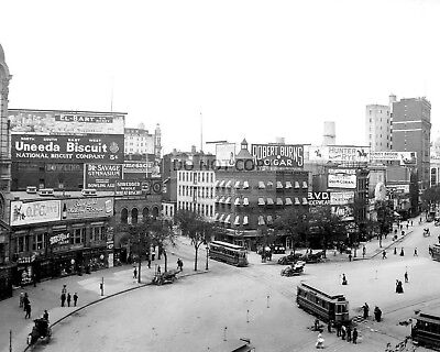 BUSINESSES ON COLUMBUS CIRCLE IN NEW YORK CITY, CIRCA 1907 - 8X10 PHOTO (AA-244)