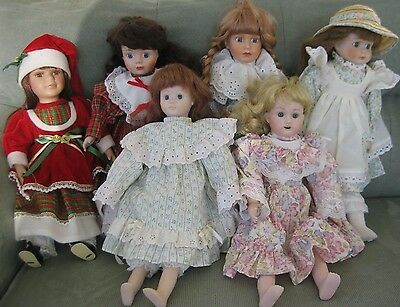"""Lot of 5 Bisque/Porcelain Dolls 15-16"""""""