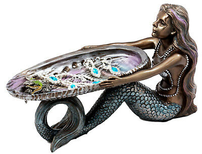 "Summit Mermaid & Abalone Shell Jewelry Dish Figurine 9""L Art Nouveau Soap Dish"