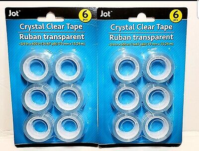 2pk Crystal Clear Transparent Tape Jot 34in X 600in 16.67yds - 6 Pcs