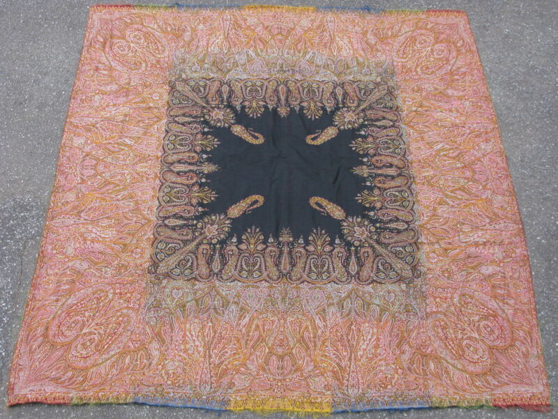 Antique French textile paisley shawl jacquard loom wool mid 19thC 68x69in #8144