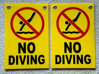 2 No Diving With Symbol 8 X12 Plastic Coroplast Signs With Grommets Yellow