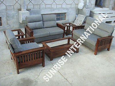 Modern Contemporary Wooden 2+2+1 Seater Sofa Set +1 Center Table U0026 2 Side  Tables