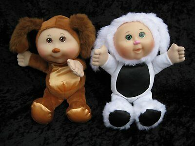 Cabbage Patch Kids Cuties Brown & Orange Black & White Puppies Costume Dolls CPK for sale  Shipping to India