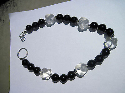Antique Handmade Oriental Sterling 925 Onyx & Shaped Crystal Statement Necklace