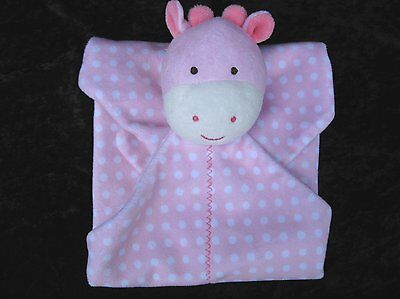 Carters Pink White Giraffe Polka Dots Spotted Security Blanket Rattle Lovey