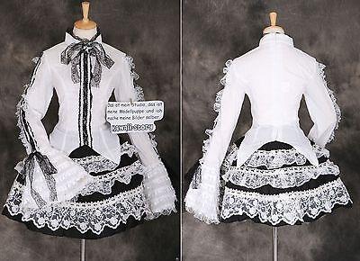 M-3296 Spitze schwarz weiß Gothic Steam Punk Lolita Bluse Rock Cosplay Kostüm