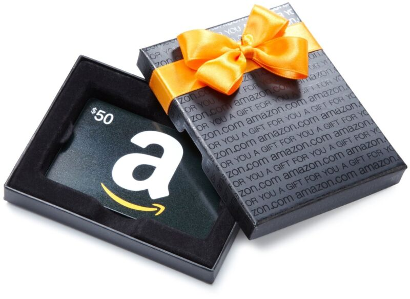$50 Amazon Gift Card in a Fancy Gift Box. Lightning-Fast FREE 1-Day Delivery!