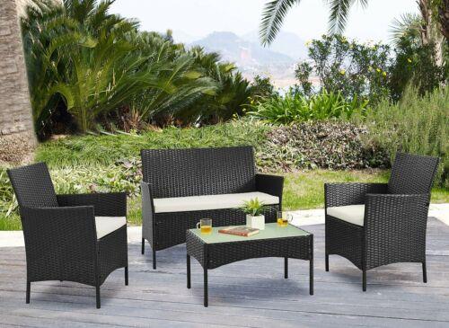 Garden Furniture - 4pc Lounger Set Outdoor Furniture Rattan Wicker Chair Sofa Table Garden Patio