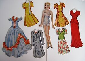 Classic Vintage Paper Dolls (6) Dolls w/ Beautiful Clothes and Hats *