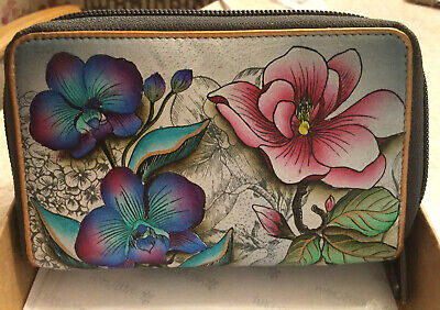 anuschka Hand Painted Leather Zip Around Wallet