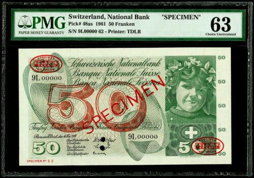 "50 Franken 1961 ""SPECIMEN"" Switzerland, National Bank Pick# 48as PMG 63 CU"