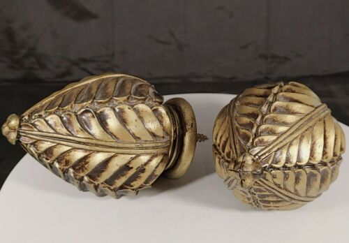 """Pair of Victorian Style Drapery Rod Finials Ends Brass Antique Tone 4-1/2"""""""