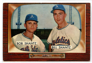 1955 BOWMAN #139 BOBBY AND BILLY SHANTZ KANSAS CITY ATHLETICS EX+