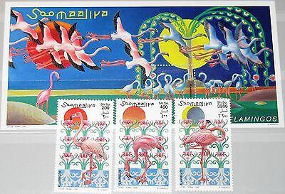 SOMALIA 1998 726-28 Block 56 Flamingos Birds Vögel Tiere Animals Fauna MNH