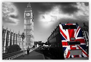 London Big Ben Black White Union Jack Bus Canvas Wall Art Modern 30