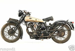 Vintage Motorcycle poster/print 1932 Brough Superior Black Alpine 680 Full View