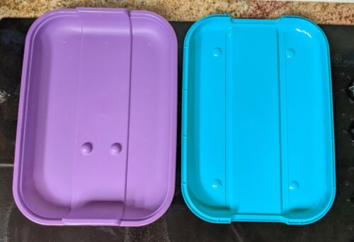 """Eagle Craftstor Tray & Lid for Tote Container teal and Purple. 14"""" x 10"""" x 2.5"""""""