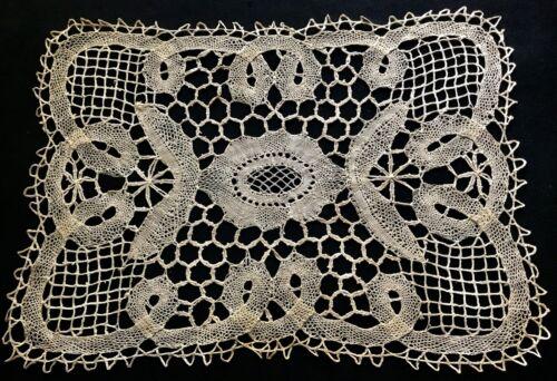 "Antique Rare Branscombe Bobbin Lace Light Ecru Doily 15 x10"" Butler Tray Cover"