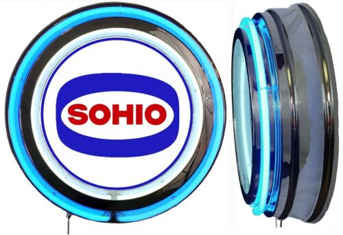 Sohio Gas N Oil Logo Sign, Neon Sign, Blue Outside Neon, Chrome Shell, NO Clock