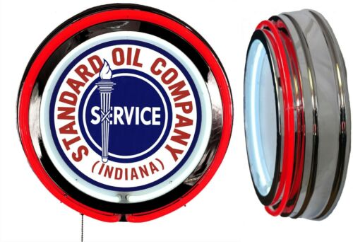 Standard Oil Indiana Sign, Neon Sign, RED Outside Neon, Chrome Shell, No Clock