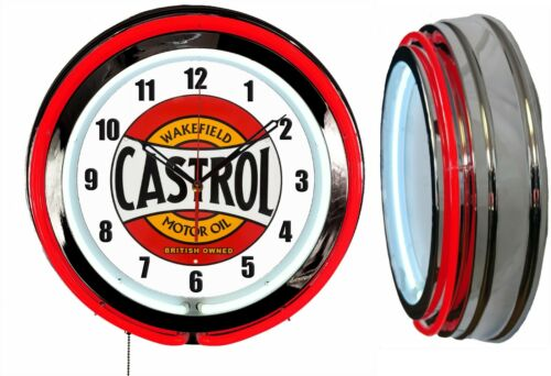 "Castrol Motor Oil Wakefield 19"" Double Neon Clock Red Neon Man Cave Garage"