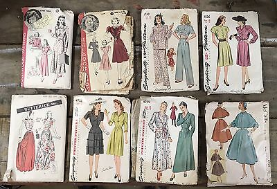 Lot Of 8 Vintage Sewing Patterns 1940's Hollywood Butterick Simplicity McCalls