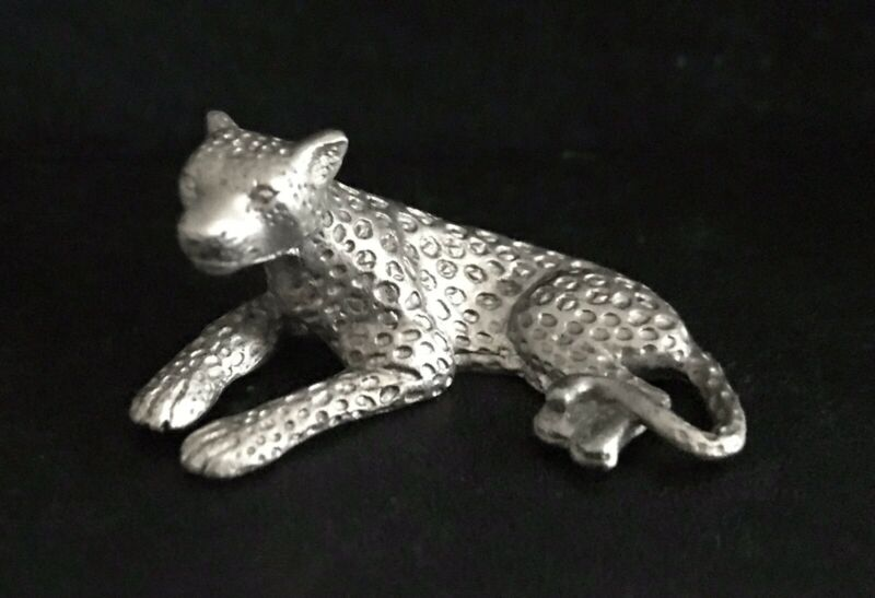 Pewter Leopard Cheetah Lion Cat Spots Tiger King Silver Metal Statue Figurine T