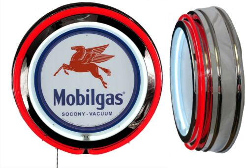 Mobil Gas Socony Vacuum Sign Neon Sign RED Neon Chrome Shell NO Clock
