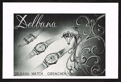 1950's Vintage 1951 Delbana Watch Co. - Paper Print AD