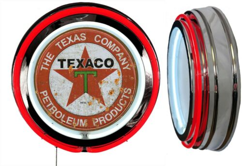 Texaco Petroleum Products DISTRESSED Rusty LOOK Sign Neon Sign RED Neon No Clock