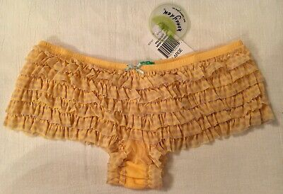 Honeydew Ruffle Cheeky Hipster Panty L Yellow w/ Grey Polka Dot New With Tags