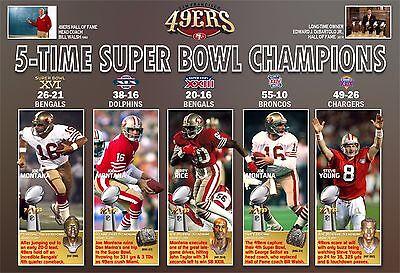 5 Time Super Bowl Champion San Francisco 49Ers Commemorative Poster