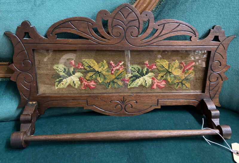 Antique Walnut Towel Bar With Needlepoint Panel Glass Front