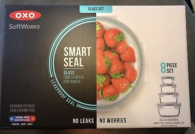 Oxo Good Grips Smart Seal Glass Food Storage Containers 8-Pc. Set  NEW