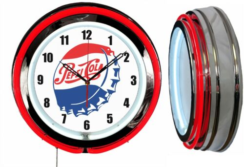 "Pepsi Bottle Cap 19"" Double Neon Red Neon Clock Man Cave Bar Garage"