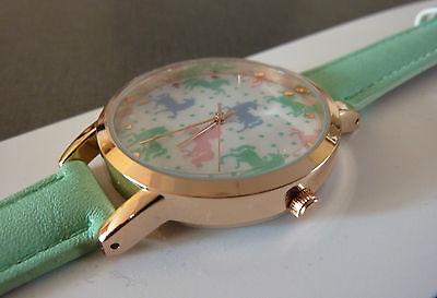 NEU OPIA Damen EINHORN Armbanduhr Mint Grün Pink Gold farbig Uhr So Cute KAWAII