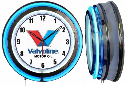 "Valvoline Motor Oil 19"" Double Neon Clock Blue Neon Man Cave Garage Oil Change"