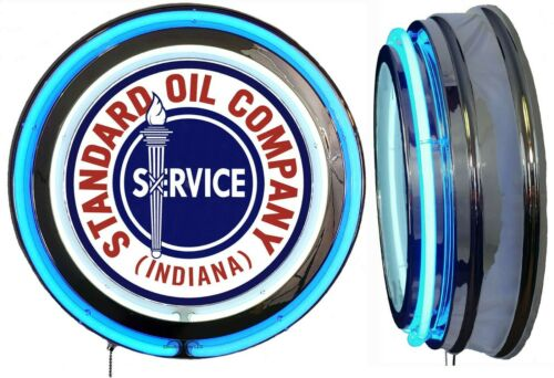 Standard Oil Indiana Sign, Neon Sign, Blue Outside Neon, Chrome Shell, No Clock