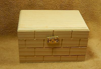 Unfinished Wood Wooden Hinged Gift Box Index Card, Recipe Box