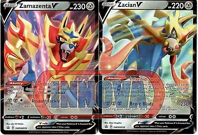 Pokemon Card Set Zacian V SWSH018 & Zamazenta V SWSH019 Black Star Promo Holo