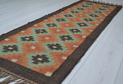 Kilim Hall Runner Indian Jute Wool Hand Knotted 180x60cm 6x2ft Geometric KRN03 for sale  Shipping to Canada