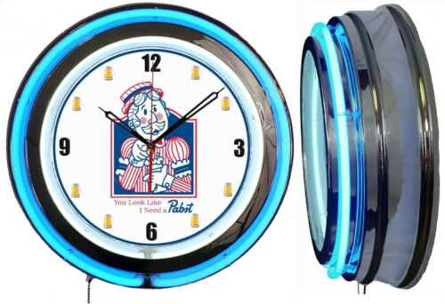 "I Need A Pabst Blue Ribbon PBR Beer 19"" BLUE Double Neon Clock Man Cave Bar Mugs"