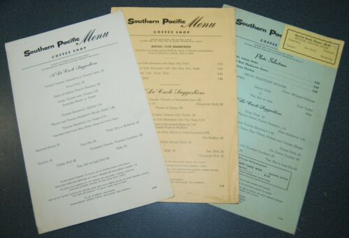 3 1968/69 era Southern Pacific Coffee Shop Menu, Breakfast, Lunch & Supper