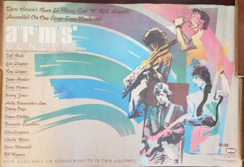 MUSIC POSTER ~ The Arms Concert 1984 Original 24x36 Jeff Beck Charlie Watts Page