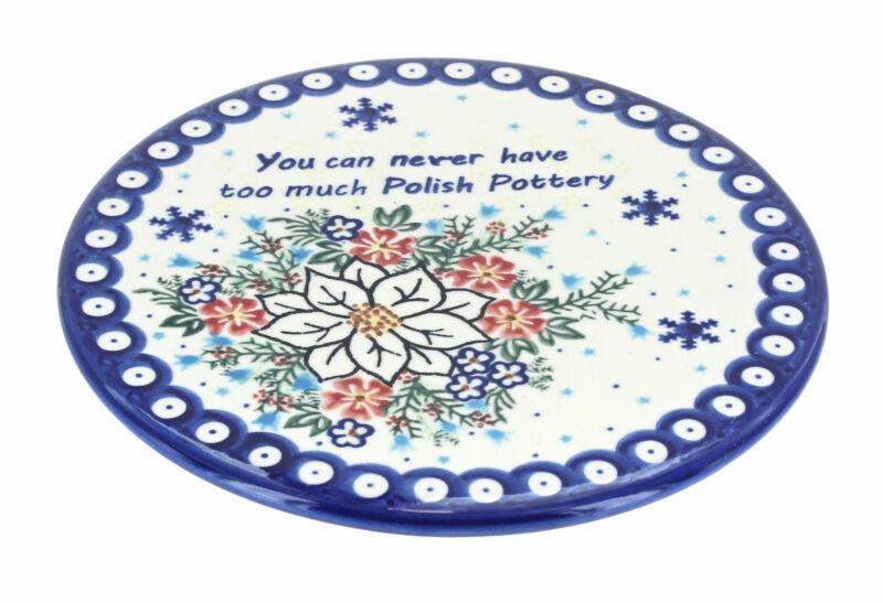 Blue Rose Polish Pottery Never Too Much Polish Pottery Trivet